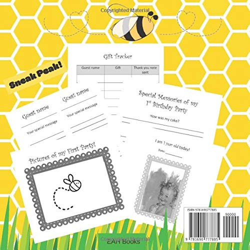 First Birthday Guest Book: Honey Bee 1st Birthday Book - includes Gift Tracker and Picture Memory Section - Bee Themed Party Supplies Complement