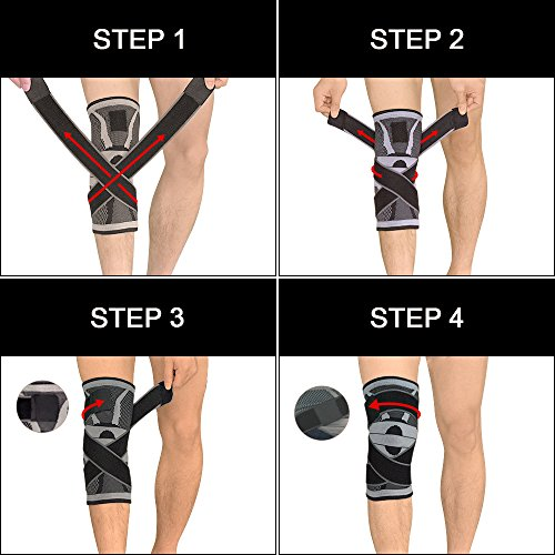 Knee Support Brace,Compression Knee Sleeve with Non-slip Adjustable Pressure Strap, Knee Protector for Running Sports Joint Patella Pain Relief Arthritis and Injury Recovery Single by U-pick